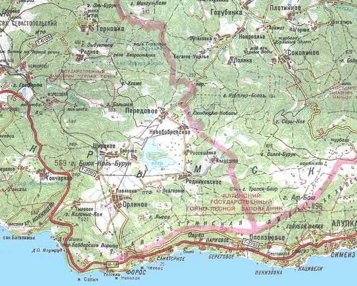 Карта крыма запад